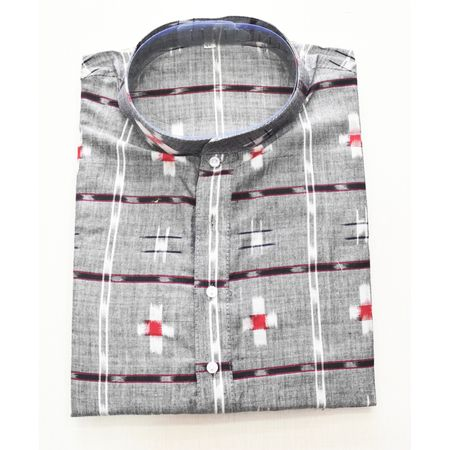 Grey With Multi Sambalpuri Handloom cotton Kurta for Men made in Odisha Sambalpur AJ001764