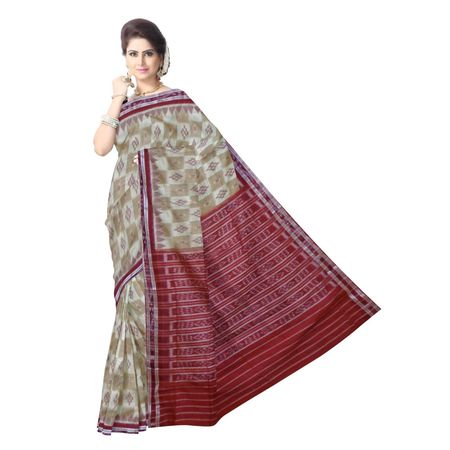 OSS7525: Beige with maroon Handloom cotton sarees of Sambalpur.