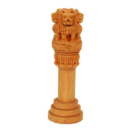 OSSRJ001: Beautiful Wooden Ashoka Pillar Handmade Indian Emblem for Home