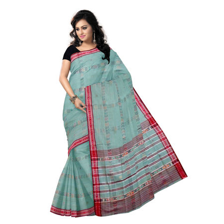 OSS257: Gray-Ash lines and buti design Cotton handloom saree from Odisha