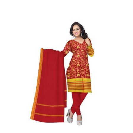 Light Red with Gold Printed Handloom Cotton Dress Material of Telengana AJ001539