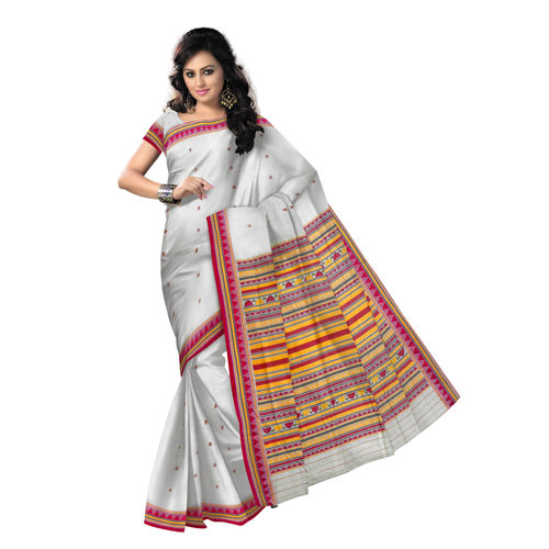 OSS9124: Ethnic Off White natural woven Dongria Cotton Saree for You