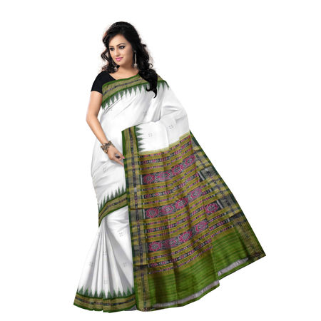 OSS5094: Traditional Temple Border design white-green silk saree