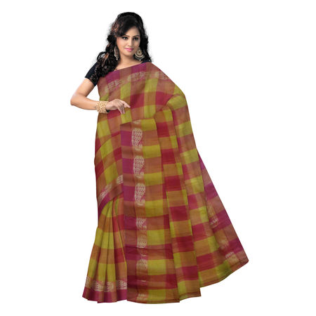 OSSWB9019: Square design yellow with Red color handwoven Cotton saree