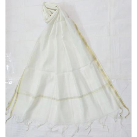 OSSUP163: White Color Banarashee Silk Dupatta