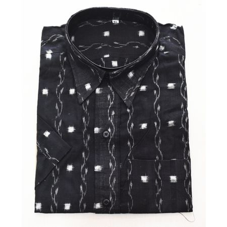 Black With White Handloom Half Shirt for Men Made in Odisha Sambalpur AJ001775
