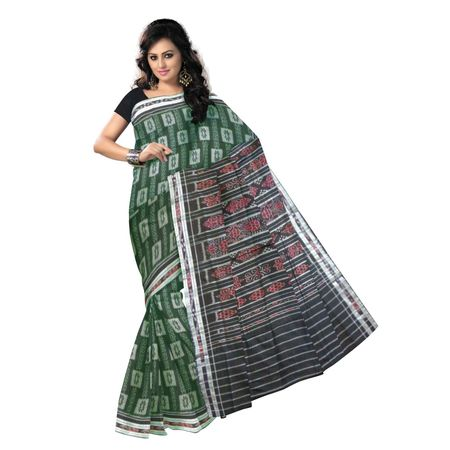 OSS9079: Green color handwoven cotton saree for puja wear
