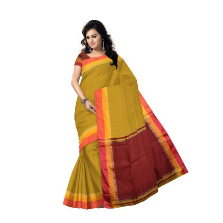 AJ000159: Olive with Maroon Handloom Pompom West Bengal cotton saree with Blouse Piece