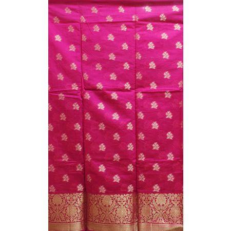 Pink With Orange Handloom Cotton silk Dress Material of Banaras AJ001803