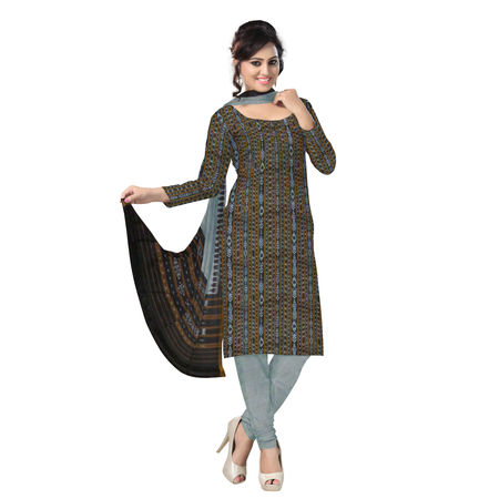 OSS269: Beautiful Traditional Black & Grey Traditional Ikat(tie & dye) Cotton Dress Material.
