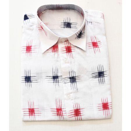 White With Multi Handloom Half Shirt for Men Made in Odisha Sambalpur AJ001727