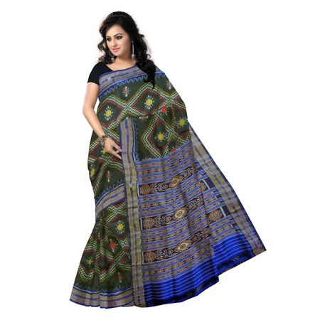 OSS506: Black With Blue Latest Handloom Sambalpuri Silk saree for party wear