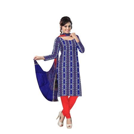 AJ000131: Exclusive Traditional Blue and Red Pasapalli Ikat(Tie & Dye) Cotton Dress Material.