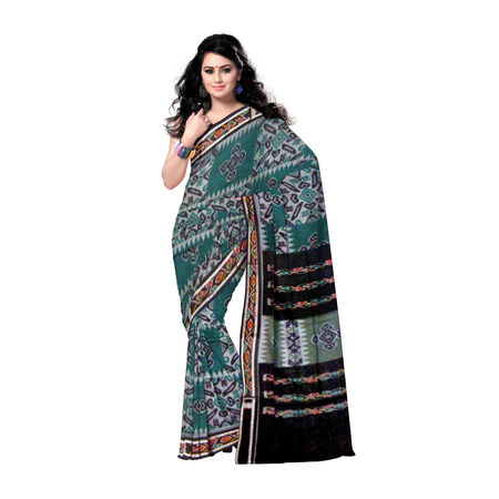 OSS462: Deep green flower design hand woven cotton saree