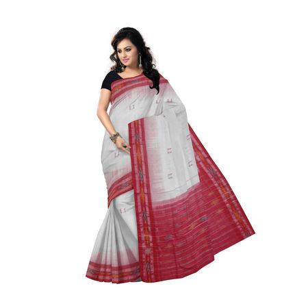 OSS7419: Buti design red-white handmade cotton saree