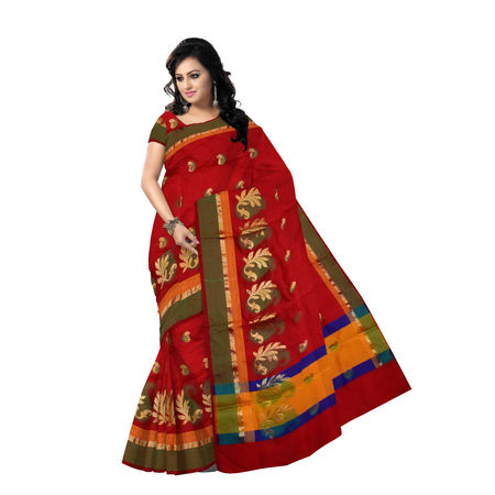 OSSUP112: Red-Maroon Banarasee Cotton Silk Saree.