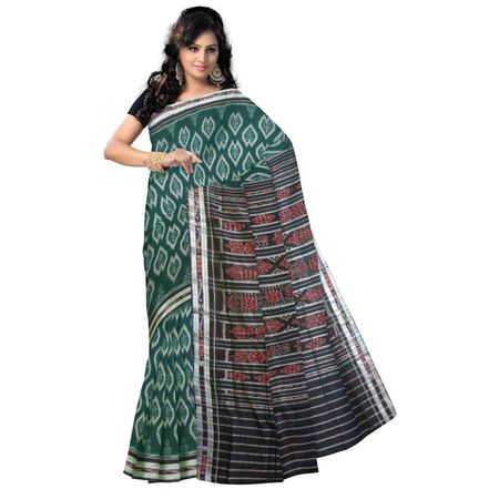 OSS9076: Flower design Green handwoven cotton saree.