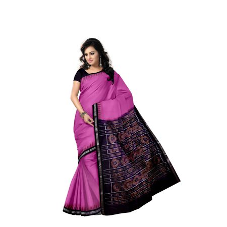 Plain Buti Design Pink With Navy Black Handloom Cotton Saree of Odisha, Nuapatana AJ001561