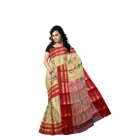 AJ000141: Block Print Handwoven Light Beige Block Print Cotton Saree of West Bengal