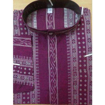 OSS8074: Deep Magenta Sambalpuri Handloom cotton Kurta.
