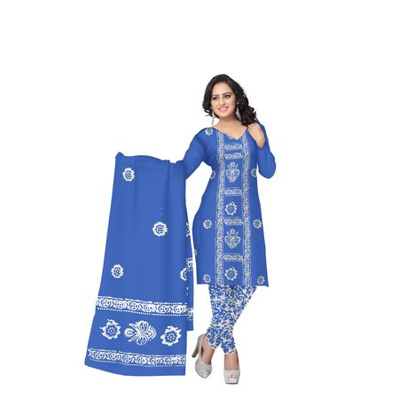 Navy Blue with white Batik Printed Handloom Cotton Dress Material of West Bengal AJ001471