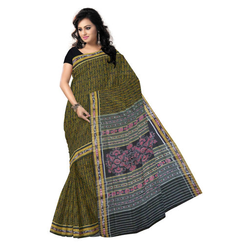OSS9090: Black with Golden Handloom Cotton Saree for party wear.
