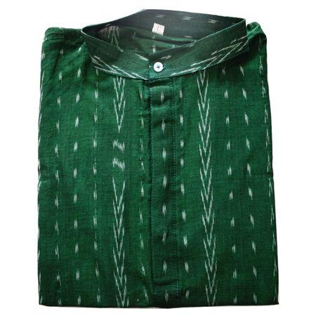 Green With White Handloom Sambalpuri Pasapalli Handloom cotton Kurta for Men made in Odisha Sambalpur AJ001568 (Size-42)