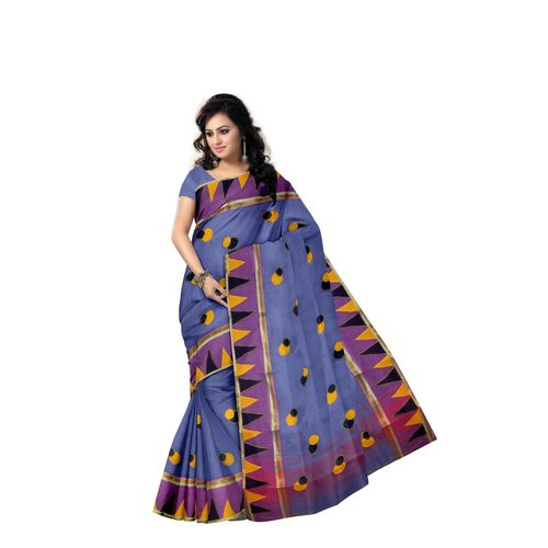 Ball Design Applique Work Handloom Light Sky Blue Cotton Saree Of West Bengal AJ001467
