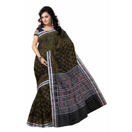 OSS7315: Black color Traditional sambalpuri handloom cotton sarees