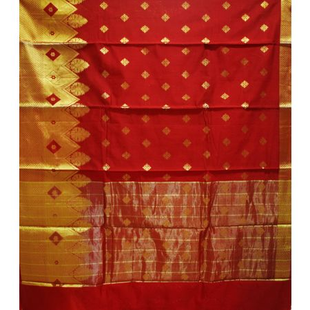 Red With Golden Handloom Temple Design Banaras cotton Silk Saree of Uttar Pradesh AJ001573