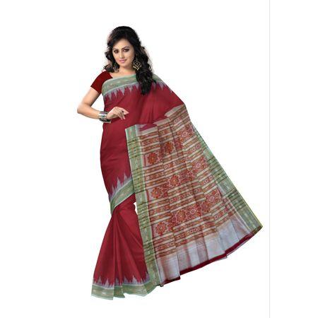Maroon color handwoven odisha silk saree for bridal wear made in nuapatna AJ000225