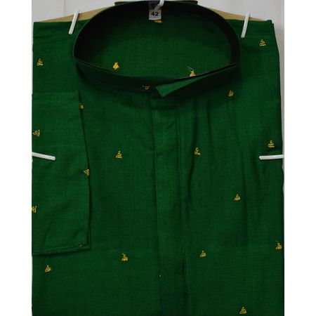 OSS619: Cotton Butti design Green Colour Handwoven Menswear Kurta