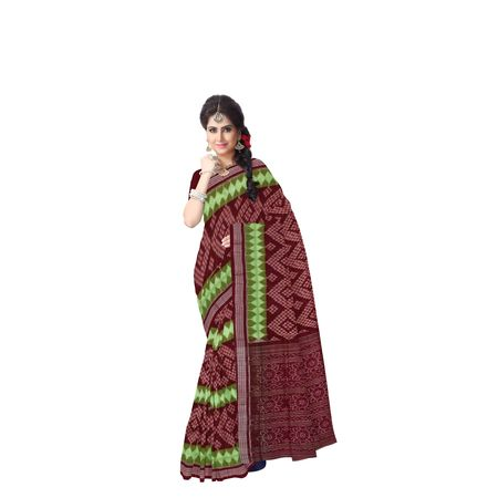 Green With Maroon Handloom Bandha Design Cotton Saree Of Odisha AJ001434