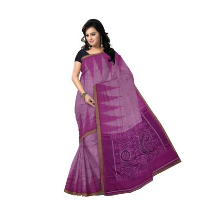 Light Purple color Temple design Handloom Cotton saree of Odisha OSS2050