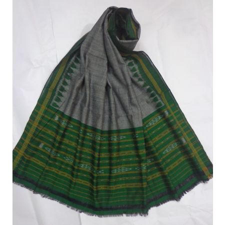 OSS8505: Grey With Green color Handloom cotton dupatta for festival wear