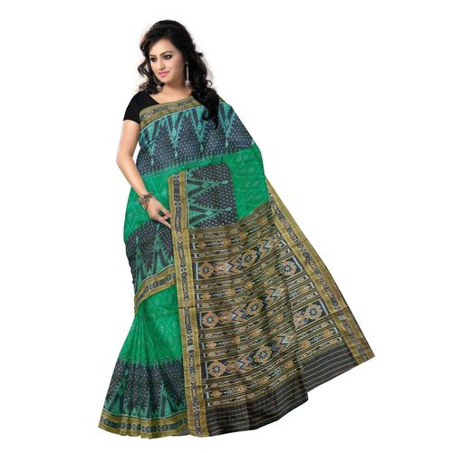 OSS9071: Green with Black handwoven silk sarees for festival wear