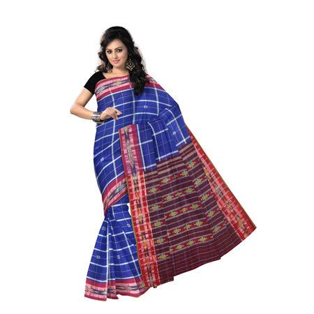 OSS278: Blue color Square Design handloom Cotton Saree