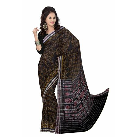 OSS7436: Traditional Black handloom cotton sari to gift mother-in-law