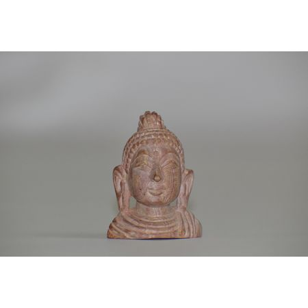 OSS400011: Lord Buddha face Brown Stone Work Showpiece.