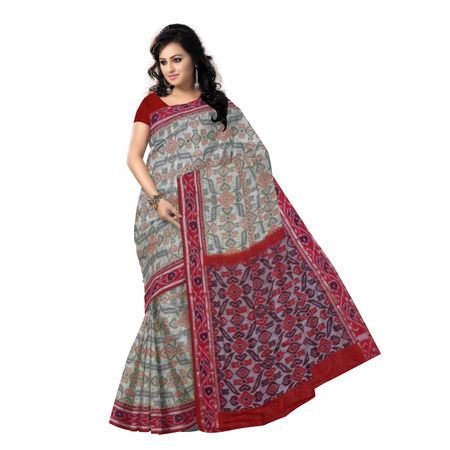 OSS6188: Light Beige with Red handloom sambalpuri cotton sari.
