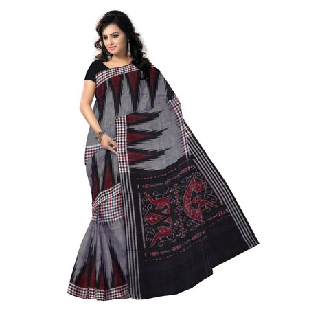 OSS7577: Kargil design Gray-Black handwoven cotton saree of odisha