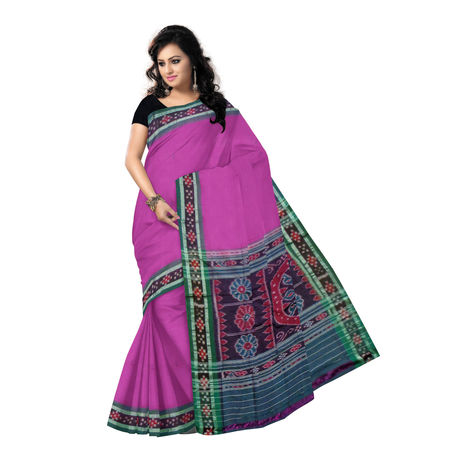 OSS7410: Magenta colour buti design Cotton handloom Sari