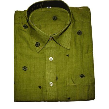 OSS9017: Light Olive Green color butti design handmade cotton shirt (Size-42)