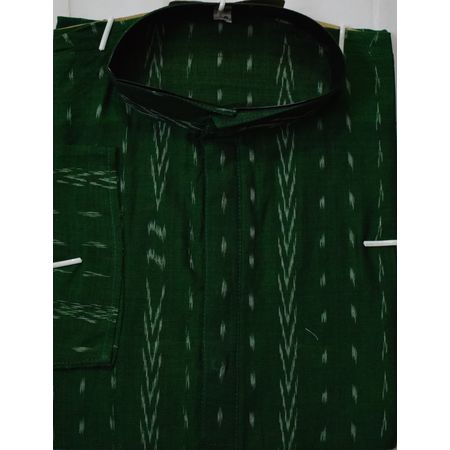 OSS620: Ikat design green Men's cotton Kurta for ethnic partywear use