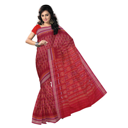 OSS7468: Red with Orange color Handloom Cotton saree of odisha for puja wear