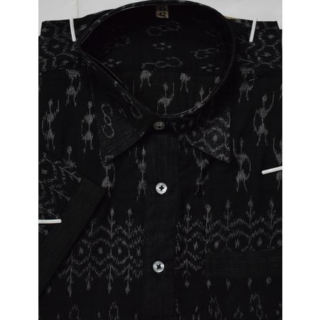 OSS8016: Ikat design Black Cotton handwoven Shirt for Men