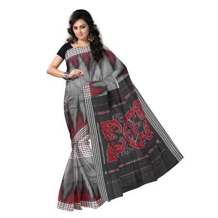 OSS7536: Elegant formal handloom Grey cotton saree for all occasions