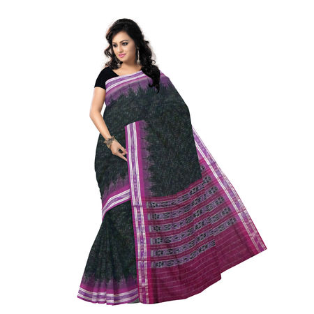 OSS152: Black with Pink handloom Cotton Saree.