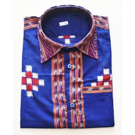 Deep Blue With Multi Handloom Half Shirt for Men Made in Odisha Sambalpur AJ001733