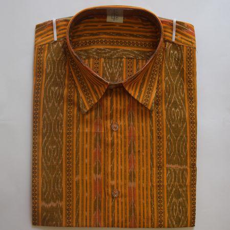 Exclusive Orange Handwoven Sambalpuri Ikat Cotton Gents Half Shirt AJ002122
